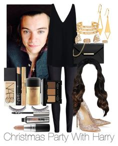 """""""Christmas Party With Harry Styles"""" by jen-21-a ❤ liked on Polyvore featuring H&M, Jimmy Choo, STELLA McCARTNEY, MICHAEL Michael Kors, River Island, Tory Burch, Gorjana, NARS Cosmetics, MAC Cosmetics and NYX"""