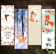 Printable Fox Bookmarks Cute Little Fox Instant Download