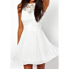 White Lace Pleated Dress (100 DKK) ❤ liked on Polyvore featuring dresses, short dress, white pleated dress, short white dresses, lacy white dress, white mini dress and short dresses