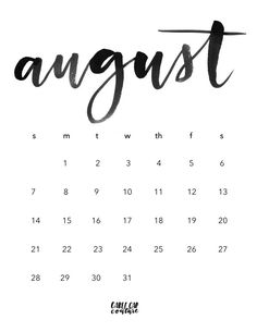 August Brush Calligraphy Calendar 2016