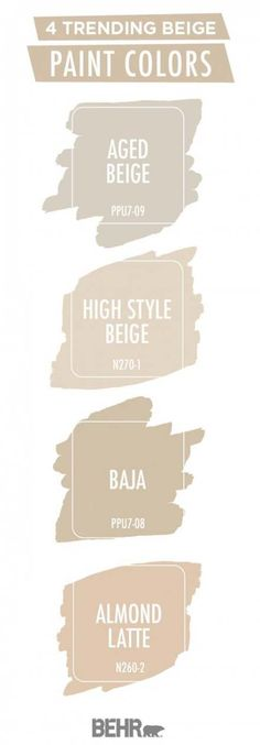 Beige is back in a big way. Luckily, BEHR® Paint has you covered with this trending color palette. Aged Beige, High Style Beige, Baja, and Almond Latte come together to create a neutral color palette Color Beige Pared, Beige Paint Colors, Beige Color Palette, Room Paint Colors, Paint Colors For Living Room, Paint Colors For Home, Bedroom Colors, House Colors, Colour Palettes