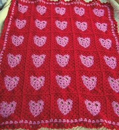 Sweet Valentine's Day Granny Square Crochet blanket with hearts!