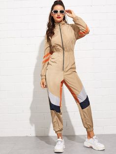 SHEIN offers Zip Front Mock-Neck Color Block Utility Jumpsuit & more to fit your fashionable needs. Looks Hip Hop, Young Models, Mock Neck, Fashion News, Gothic Fashion, Sleeve Styles, Color Blocking, Sporty, Rompers