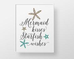 Mermaid Print - Starfish quote script teal aqua gold custom color ocean sea nautical stars childrens girls teen bathroom decor wall art glam by BokehEverAfter on Etsy https://www.etsy.com/listing/471728849/mermaid-print-starfish-quote-script-teal