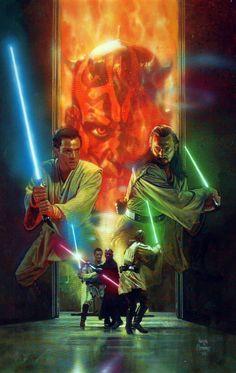 Star Wars: Episode I - The Phantom Menace / Star Wars: Episode I - Die dunkle Bedrohung Star Wars Film, Star Wars Fan Art, Star Wars Episoden, Star Wars Poster, Star Wars Pictures, Star Wars Images, Starwars, Tableau Star Wars, Space Opera