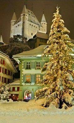 Christmas in Thun, Switzerland. Thun in the canton of Bern in Switzerland has about 43'783 inhabitants