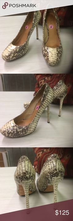 "L.A.M.B. Snakeskin Leather Heels Show stopping snakeskin stiletto heels in  textured leather by LAMB by Gwen Steffani. 5"" heels are a true head turner. These are in such wonderful condition. So gently worn.  A fabulous addition to your holiday wardrobe.  Size 9 L.A.M.B. Shoes Heels"