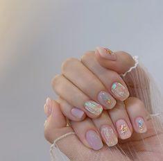 Shellac Nails, Nail Manicure, Pink Nails, Diy Nails Cute, Asian Nails, Romantic Nails, Korean Nail Art, Kawaii Nails, Nail Jewelry