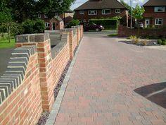 grey brick at top of wall to match windows and garage door? Brick Wall Gardens, Brick Garden, Garden Walls, Brick Paver Patio, Brick Fence, Garden Wall Designs, Garden Design, Wall Railing, Railings