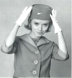 Changing times! To keep with the style of the 1950s, Canadian Airlines adopted a uniform true to the times. Knee-length sleeveless dress, boxy jacket and matching high crown pill box hat make this uniform truly iconic.
