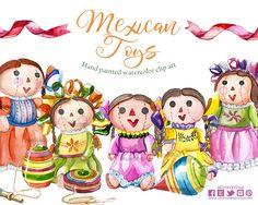 Muñecas oaxaqueñas, muñecas de tela, muñecas mexicanas juguetes mexicanos muñecas acuarela clip art mexico clip art boda ilustraciones by CpandoShop on Etsy