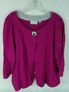 AVENUE womens purple 1 button scoop neck jersey knit cropped jacket 18/20