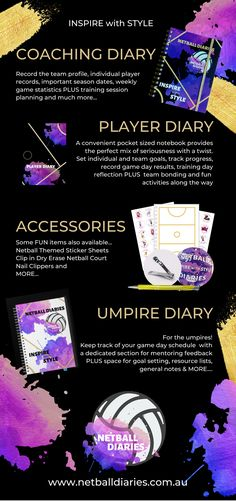 Our Netball product range NOW includes; Netball Coach Diary; Netball Player Diary; Netball Umpire Diary plus Netball Stickers and other Netball Accessories Netball Coach, Team Goals, Diaries, Coaching, Range, Stickers, How To Plan, Accessories