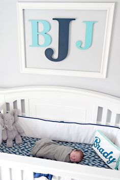 Framed Monogram Wall Decor for Over the Crib - just make sure it is well-secured!