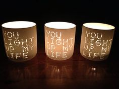 Porcelain Candle Holder- 'You light up my life'