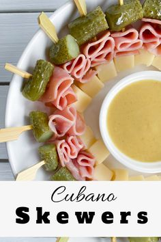 These Mini Cubano Sandwich Skewers are a fun bite sized appetizer your guests will love dipping into! Best of all, they can be made in advance and can be served cold! Bite Size Appetizers, Finger Food Appetizers, Yummy Appetizers, Appetizers For Party, Easy Summer Appetizers, Appetizer Skewers, Party Finger Foods, Summer Finger Foods, Party Food On Skewers