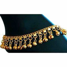 Indian Traditional Belly Dance Ghungroo Brass Anklet with Jingling Bells Gold-Toned: One piece (single anklet). Minor imperfections are inherent qualities of handmade items. Adjustable size via hook with loops next to bells. Anklet Jewelry, Beaded Anklets, Brass Jewelry, Jewellery, Trendy Jewelry, Fine Jewelry, Gold Fashion, Fashion Jewelry, Hanging Beads