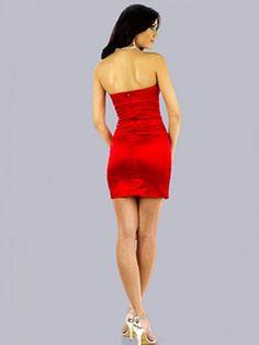 2011 Style Sheath / Column Strapless Ruffles  Sleeveless Short / Mini  Elastic Woven Satin Red Cocktail Dress / Homecoming Dress