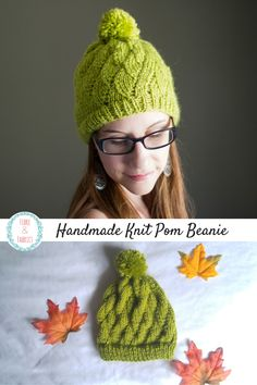 e31603e4e4f Fall Knitted Pom Beanie    Lime Green Chartreuse Toque    Winter Acrylic  Wool Blend