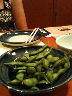 A bowl of unshelled edamame from Japan.  Yum.
