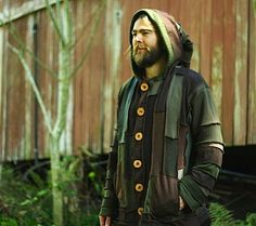 the patchy hooded jacket. bohemian!