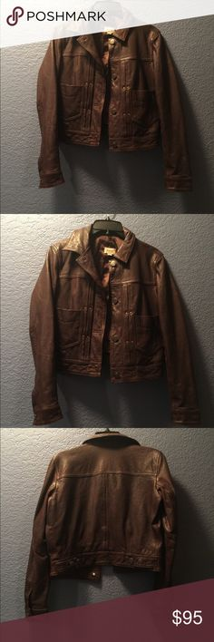 Fossil leather bomber jacket Super soft fossil dark brown leather jacket. It is in good condition. Fossil Jackets & Coats