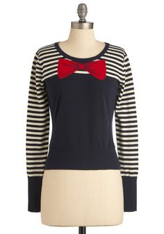 The More You Bow Sweater. Its common knowledge that you simply can't go wrong with this chic sweater! #modcloth