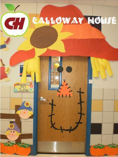 A teacher got creative and made her door more exciting! Students where greeted by a giant Scarecrow door!