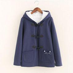 Warm Kawaii Pink/Black/Navy Embroidered Cat Hooded Ear Jacket YV2283
