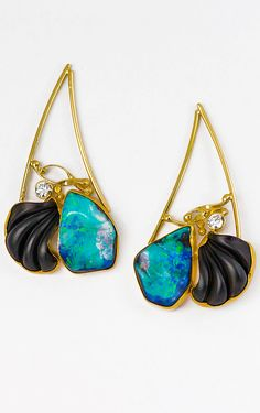 Jennifer Kalled, Boulder opal earrings with carved black jade, and diamonds in 22k and 18k gold. Opals from Bill Kasso www.kalledjewelrystudio.com