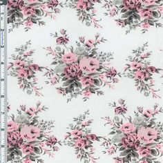 White background with a floral bouquet print in shades of pink, grey and black. Woven of fine smooth yarn, this 100% cotton fabric is very soft, light-weight and semi-sheer. Suitable for shirtings and dresses in styles where some sheerness is desired, use a lining if full coverage is desired.3 YARD PIECE