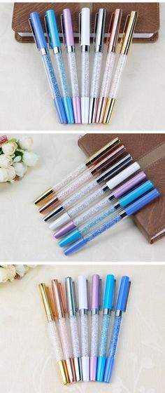 Office Stationery Writing Supplies Trend Mark New Brand Drop Shape Diamond Metal Ballpoint Pen Black Refill gift: Blue Refill 1pc