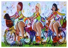 Vrolijk Schilderij Posters Vrolijk Schilderij, dames, fietsen