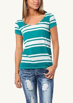 image of Striped Lightweight High Low Tee
