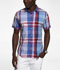 FITTED MADRAS PLAID SHORT SLEEVE SHIRT at Express
