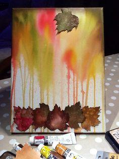 Leaf stencil, distress paint & ink x
