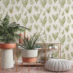 Green Leaf Wallpaper - Canvas Wall Decal / 1 roll: 24W x 96H