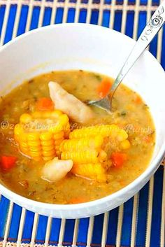 Trini corn soup - this is THE best. Not sure it's as healthy as she claims though...