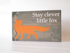 Fox wood sign Grey Fox home decor rustic by RusticBabyBoutique, $25.00