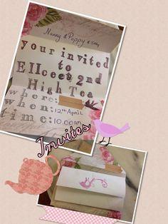 Vintage looking hand stamped cute invites