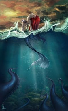 """medelliagray: """"Hi! This is a fan art from The Little Mermaid. I love the colors and the landscape from this film and Ariel is the most beautiful princess from Disney… and Merida, and the sleeping beauty, and Megara from Hercules, and… bah, I love. Film Disney, Disney Kunst, Disney Fan Art, Disney Dream, Disney Love, Disney Magic, Disney And Dreamworks, Disney Pixar, Disney Characters"""