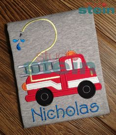 Ships in one week: Embroidered Fire Truck (Firetruck) Birthday Shirt