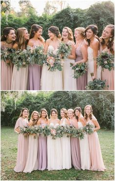 Bridesmaid fashion, leafy wedding bouquets, blush colored and lavender bridesmaid dresses, mismatched styles // Branches Wedding Co.
