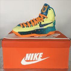 Nike Shoe Cake! Sugar Bee Sweets Bakery  www.sugarbeesweets.com Jordans Sneakers, Air Jordans, High Top Sneakers, Party Cakes, High Tops, Nike Shoes, Bakery, Bee, Sweets