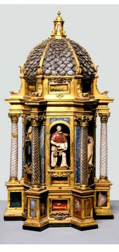 Giuseppe Antonio Torricelli (Firenze, 1662-1719) & Grand-ducal workshops to a design by Giovan Battista Foggini (Firenze, 1652-1725), Reliquary of the Founder Saints, 1715; cast, chased and gilded bronze; cast and gilded copper; ground rock crystal; engraved semi-precious stones. Firenze, Museo del Tesoro della Basilica di San Lorenzo.