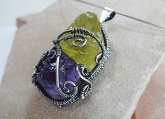 Wire Wrapped Sterling Silver Amethyst & Lemon by MindaDesign