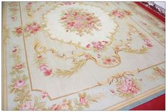 8X10 LIGHT BLUE IVORY PINK French Aubusson Area Rug SHABBY ROSE CHIC Wool Woven | eBay
