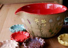 Wheel Thrown Batter Bowl California Wild Flowers by GiselleNo5