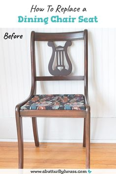 Replace a dining chair cushion the easy way with this complete tutorial! DIY, budget-friendly method doesn't require any tools to replace a chair seat, and each chair can be done in under 30 minutes. #upholstery #DIY Diy Furniture Flip, Thrift Store Furniture, Furniture Makeover, Dining Chair Cushions, Dining Room Chairs, Dining Rooms, Metal Frame Chair, Butterfly House, Home Repairs