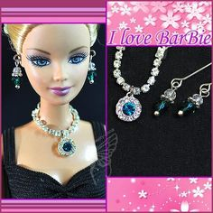 doll jewelry set doll rhinestone necklace and earring by sinogem